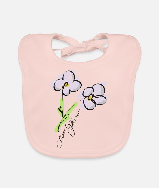 Machine Wash Baby Bibs - Sweet Flower Flower Lineart - Baby Bib rose