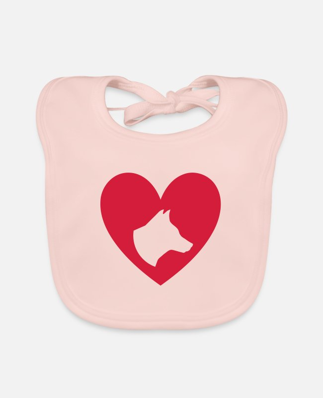 Heart Baby Bibs - ★ design colors changeable ★ dog head in the heart - Baby Bib rose