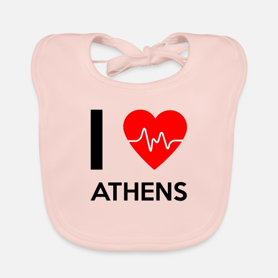 Love Baby Clothes - I Love Athens - I love Athens - Baby Bib rose