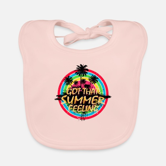 Typography Baby Clothes - Summer Feeling (Palms) 01 - Baby Bib rose