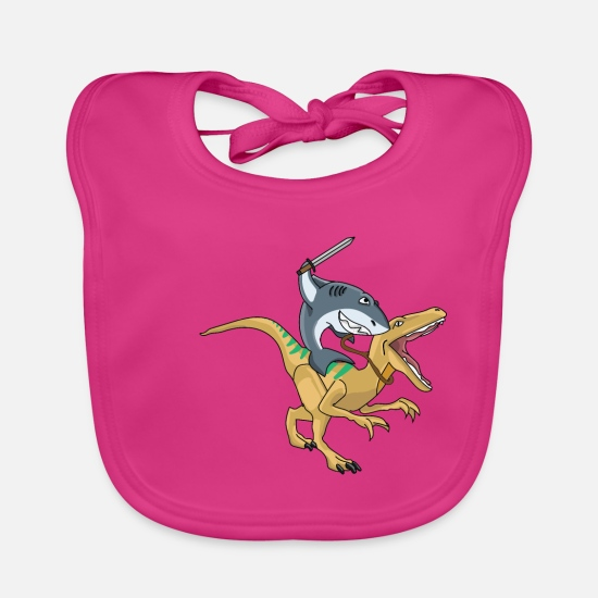 Hipster Baby Clothes - shark riding dino trex dinosaur animal tshirt - Baby Bib fuchsia
