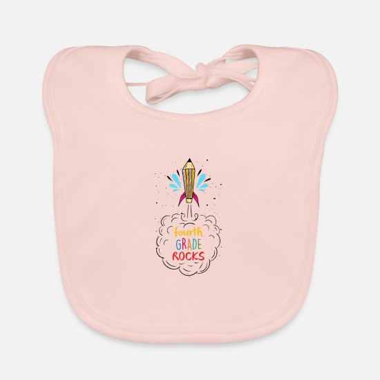 Birthday Baby Clothes - Fourth Grade Rocks Back To School Studying Gifts - Baby Bib rose