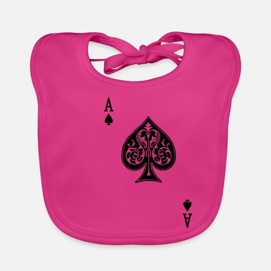 Vegas Baby Clothes - Poker Halloween Costume Spades Ass - Baby Bib fuchsia