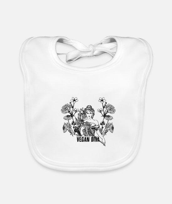 Animal Welfare Baby Bibs - Vegan Diva - lady with flowers - Baby Bib white