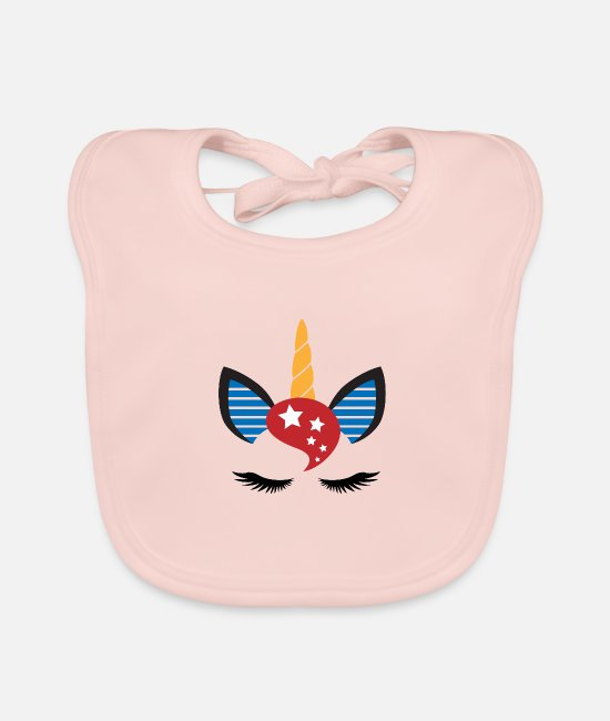 Love Baby Clothes - UNICORN USA - stars and stripes - Baby Bib rose