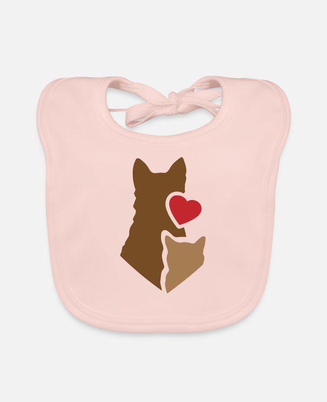 Heart Baby Bibs - Dog and cat with heart / animal love pet love - Baby Bib rose