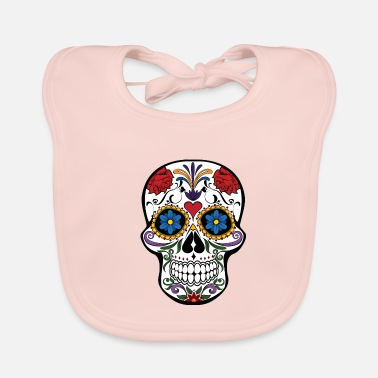 Beautiful cute skull colorful dead head style cranium - Baby Bib