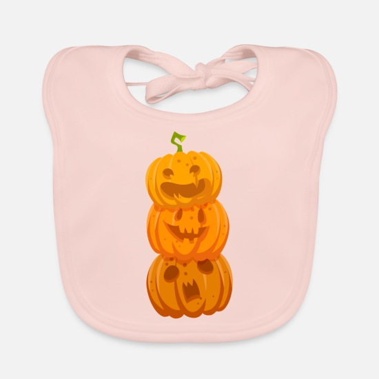 Witches Broom Baby Clothes - Laughing Merry Funny Halloween Pumpkins - Baby Bib rose