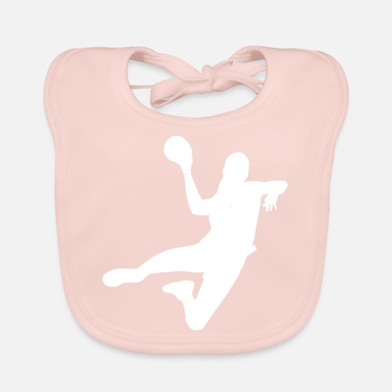 Symbol  Baby Clothes - Handball player Handball player jump throwing block - Baby Bib rose