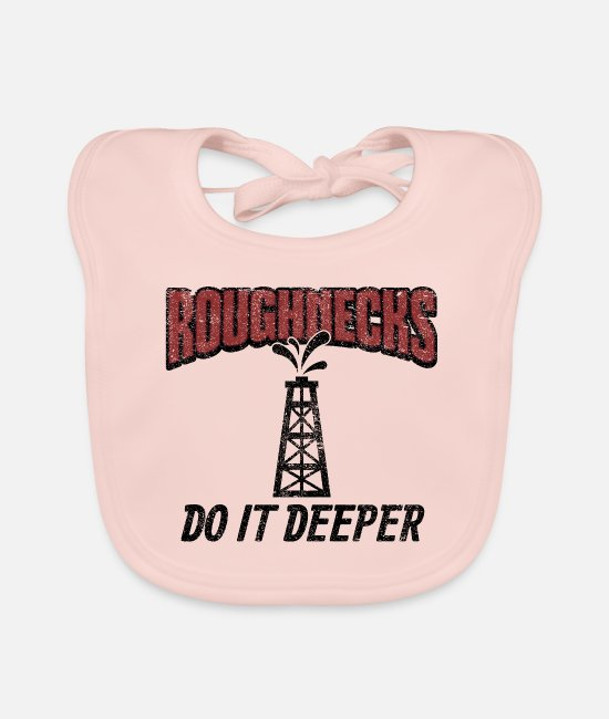 Drilling Baby Bibs - Roughnecks Do It Deeper Gift - Baby Bib rose