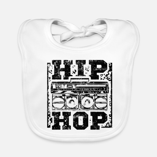 Rap Baby Clothes - Hip Hop music - Baby Bib white