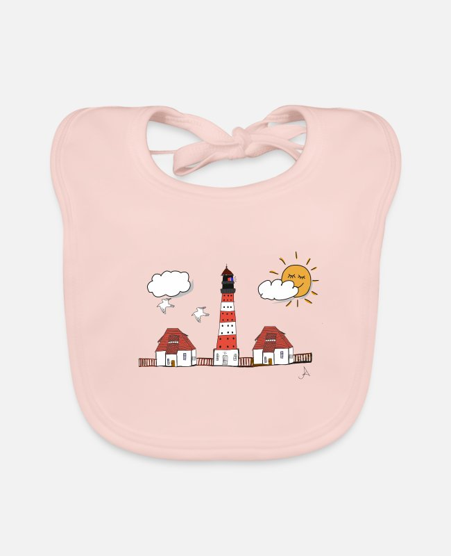 Vacation Baby Bibs - Westerhever lighthouse drawing - Baby Bib rose