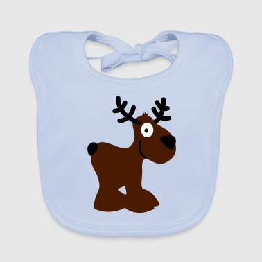 cute moose caribou reindeer deer christmas norway rudolph rudolf winter scandinavia canada smile eye - Baby Organic Bib