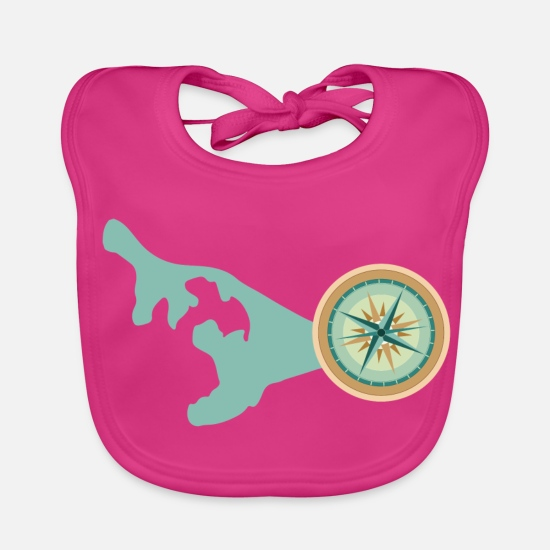 Continent Baby Clothes - Compass - direction - Baby Bib fuchsia