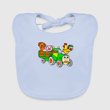 Farm Animal For children: farm animals with tractor - Baby Organic Bib
