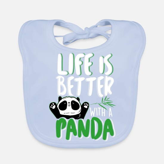 Panda Babykleidung - Life is better with a Panda - Pandabär Pandas - Lätzchen sky Blue