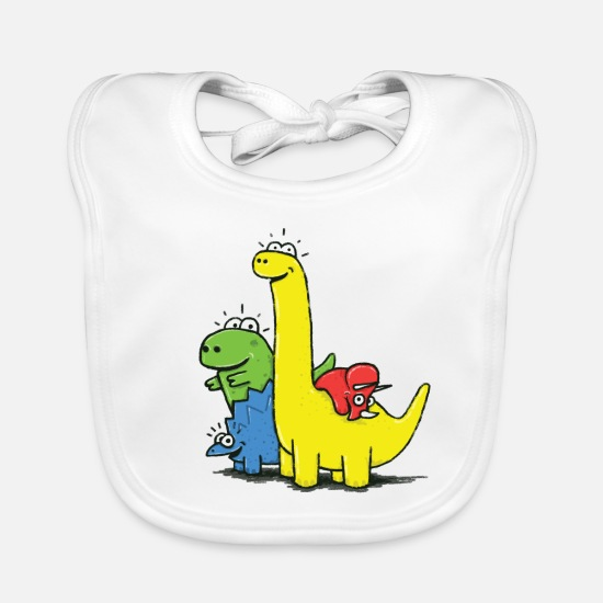 First Day Of School Baby Clothes - Dino Gang, Colored - Baby Bib white