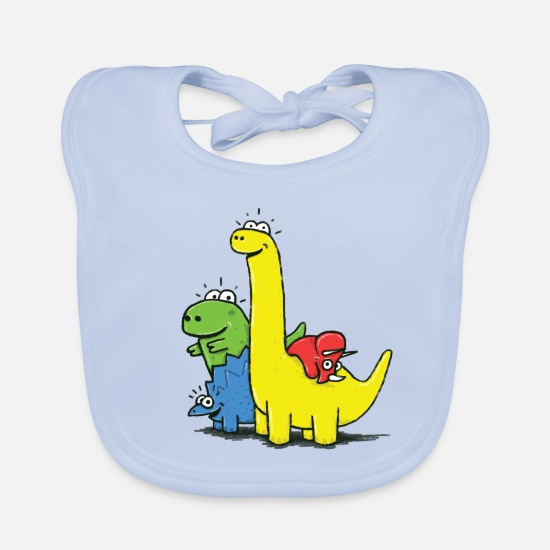 First Day Of School Baby Clothes - Dino Gang, Colored - Baby Bib sky blue