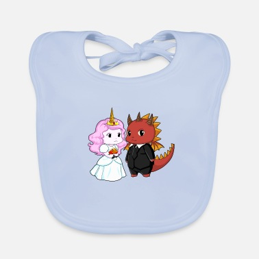 Bride And Groom Unicorn bride and devil groom - Baby Organic Bib