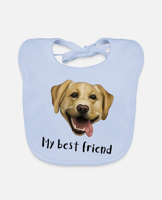 Female Dog Baby Bibs - Dog Labrador - My best friend - Baby Bib sky blue