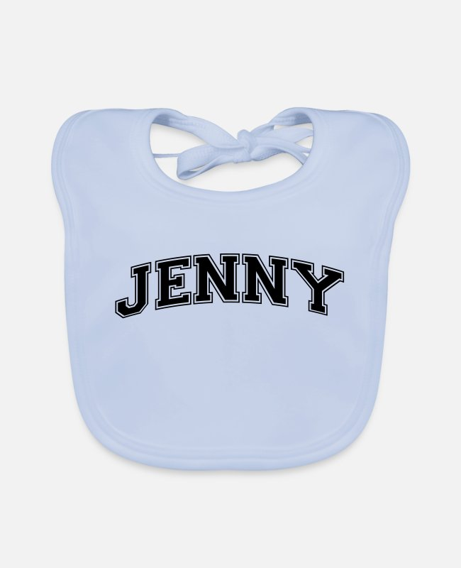Old School Baby Bibs - jenny name arched college style text - Baby Bib sky blue