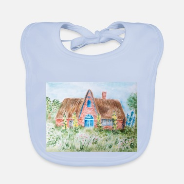 Thatched Cottage Thatched cottage on the island of Sylt - watercolor - Baby Bib