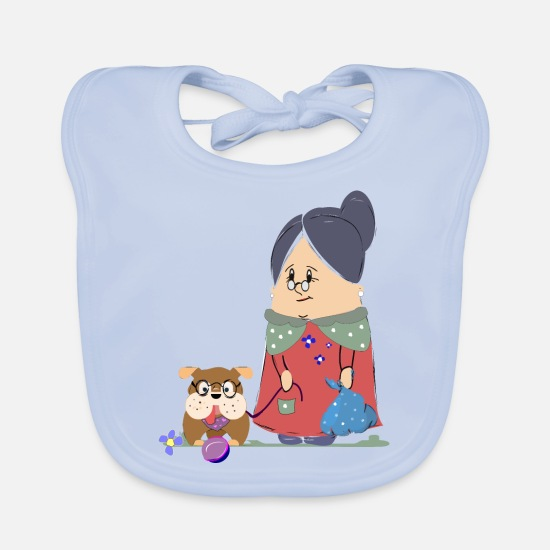 Play Baby Clothes - Funny granny with dog - Baby Bib sky blue