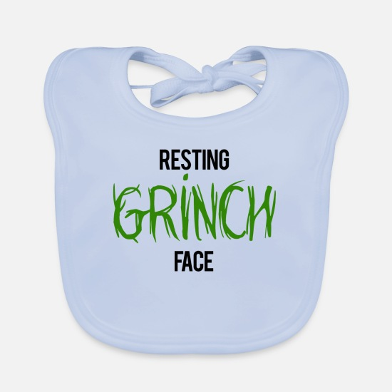 Grinch Baby Clothes - Resting Grinch Face - Baby Bib sky blue