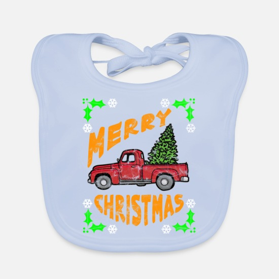 Pastries Baby Clothes - Truck red Christmas tree transport - Baby Bib sky blue