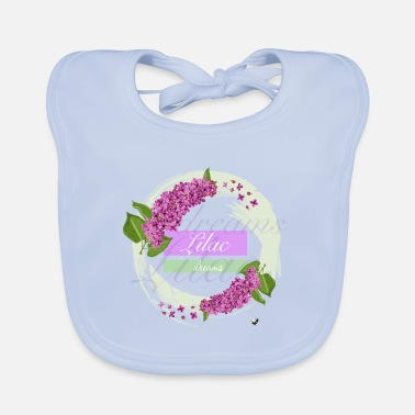 Lilac Lilac flowers in a circle. Lilac dreams. - Baby Bib
