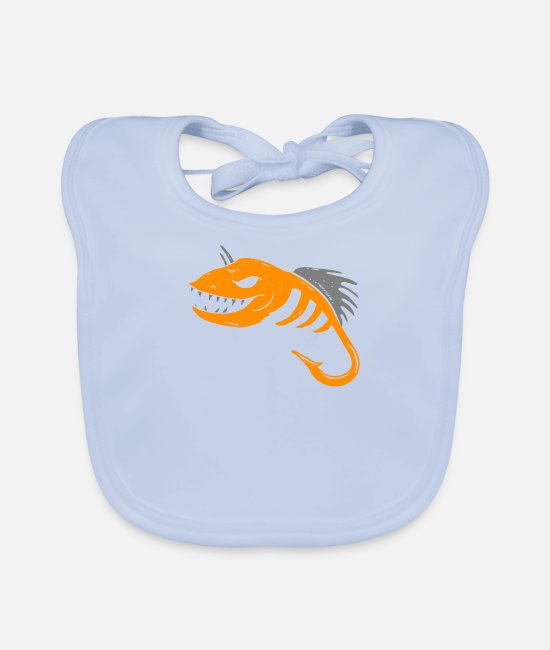 Camping Baby Clothes - Angler fishing fisherman camper surfers beach trip - Baby Bib sky blue