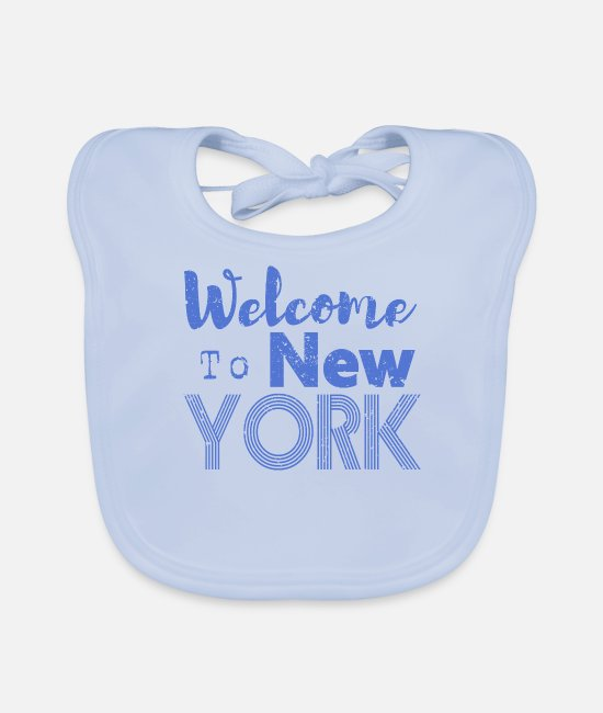 Hipster Baby Bibs - Welcome to New York Vintage - Baby Bib sky blue