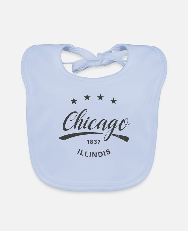 South Side Baby Lätzchen - Chicago 1837 Illinois Grey Vintage - Lätzchen sky Blue
