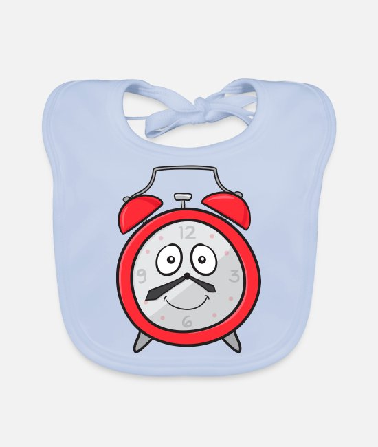 Broken Baby Clothes - Alarm Clock - Baby Bib sky blue