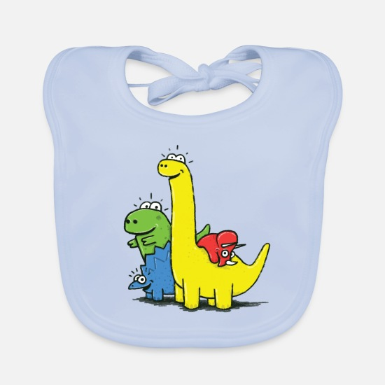 School Baby Clothes - Dino Gang, Colored - Baby Bib sky blue