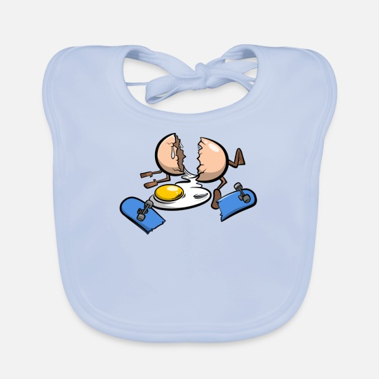 Image Baby Clothes - Skateboard accident egg - Baby Bib sky blue
