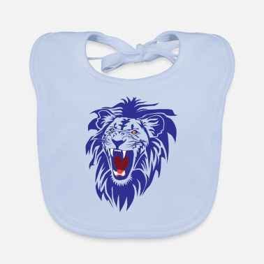 Baby Roaring lion (cut-out) in Blue - Baby Bib