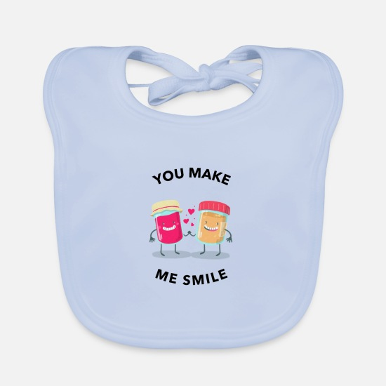 Love Baby Clothes - Jam peanut butter love partner valentine's day - Baby Bib sky blue