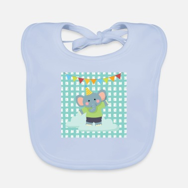 Pretty Elephant animal friends blue - Baby Bib