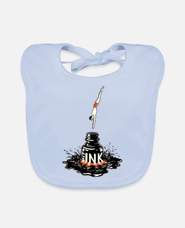 Drawing Baby Bibs - Strange Ink PIT © - Ink drawing by JM. Baccino - Baby Bib sky blue