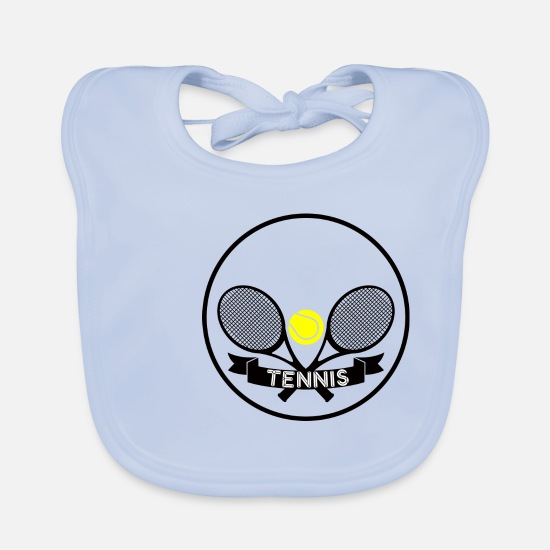 Tennis Match Baby Clothes - Tennis - Ready for a 1 vs. 1? - Baby Bib sky blue