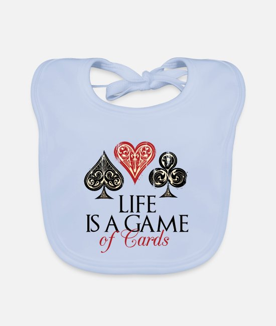 Heart Baby Bibs - Life Is A Game of Cards - Baby Bib sky blue