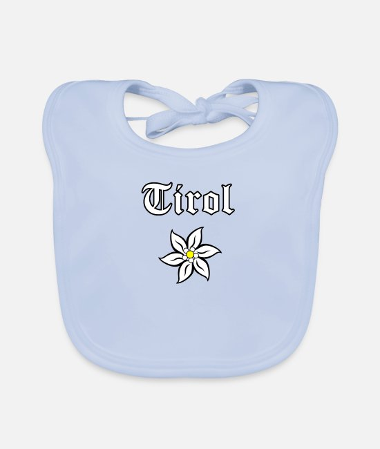 Mountains Baby Clothes - Edelweiss - Tyrol - Baby Bib sky blue