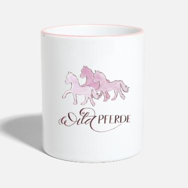 Cheval Sauvage Chevaux sauvages roses - Mug bicolore