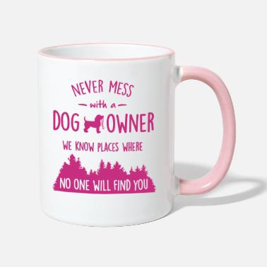 Places never mess with dog owner - Two-Tone Mug