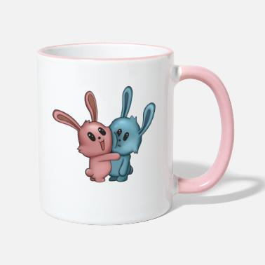 Pink Bunnies hug - kawaii - funny gift - Two-Tone Mug