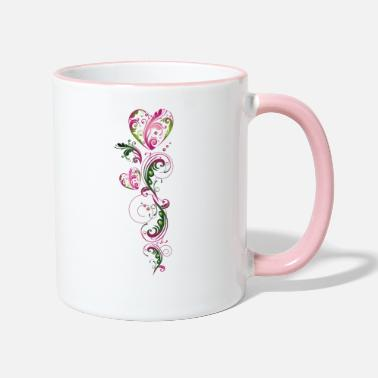 Cirrus Summer Tendril Heart Floral Vintage - Two-Tone Mug