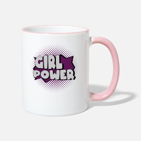 Girl Power Mugs & Drinkware - Girl Power Girl Power - Two-Tone Mug white/pink