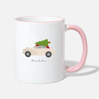 Merry Christmas classic car - Two-Tone Mug