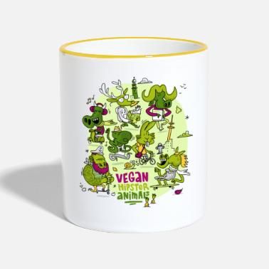 Hipster Veganos Hipster Animales - Taza en dos colores